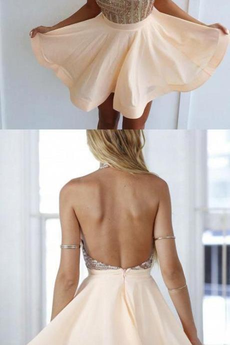 Charming Prom Dress, Sexy Backless Mini Prom Dresses, Halter Short Party Dress