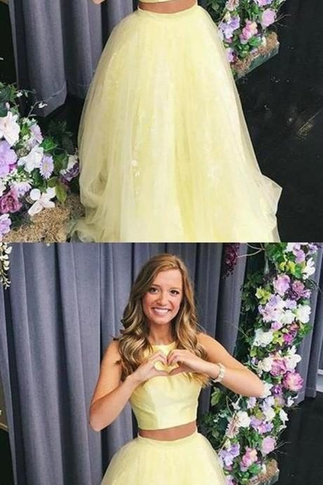 Charming Prom Dress, Tulle Yellow Two Piece Prom Dresses, Cheap Long Homecoming Dress