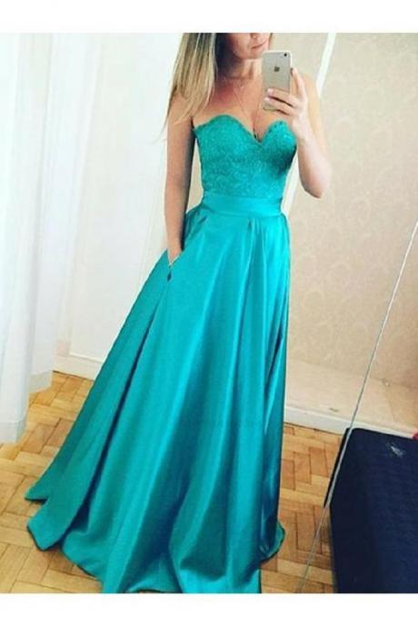 Cheap Sweetheart Neckline Teal Prom Dress, Elegant Lace Long Evening Dress