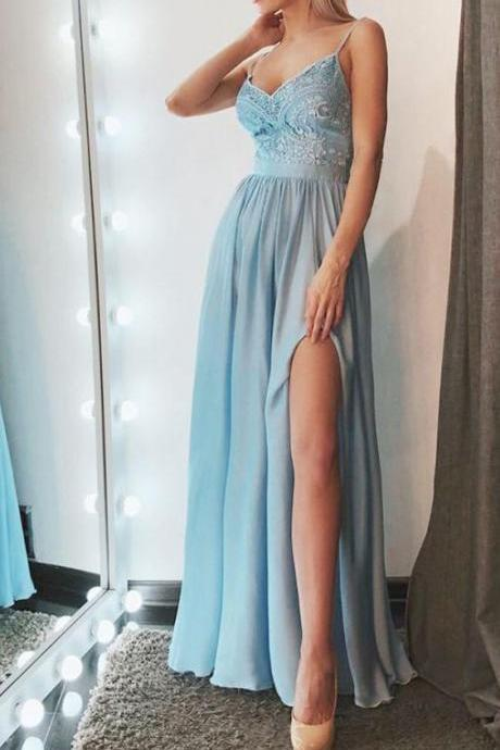 Cheap Lace Chiffon A Line Prom Dress, Sexy Spaghetti Straps Evening Dress with Slit, Long Party Dress
