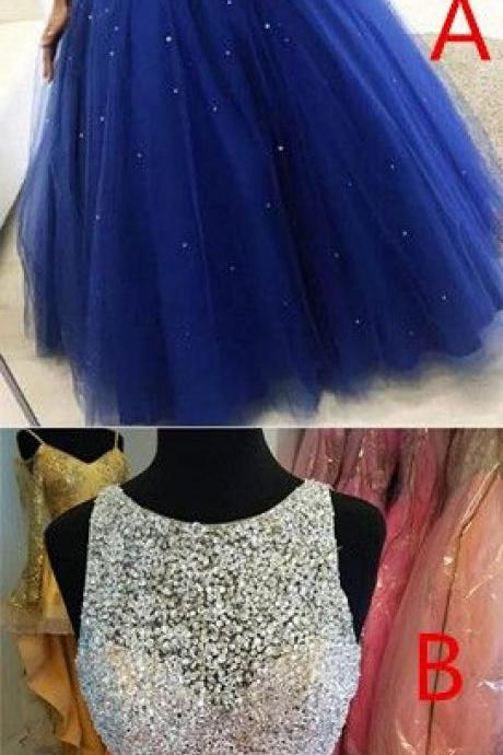 Gergeous Scoop Neck Tulle Ball Gown Prom Dresses with Crystal Beading, Cheap Sweet 16 Dress