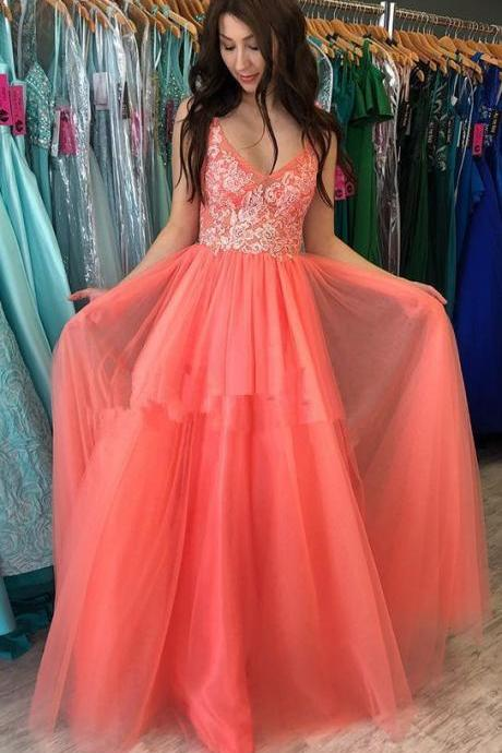 Charming Prom Dress, Sexy V Neck Lace Tulle Long Prom Dresses, Cheap Homecoming Dress