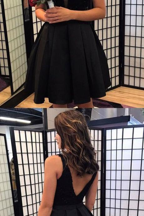 Charming Prom Dress, Black Lace Short Homecoming Dress, Elegant Prom Gowns