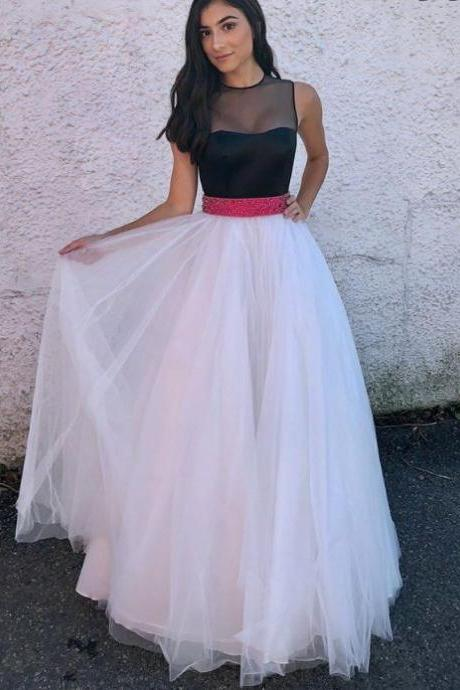 Charming Prom Dress, Elegant Tulle Prom Dresses, Black Top Evening Party Dress