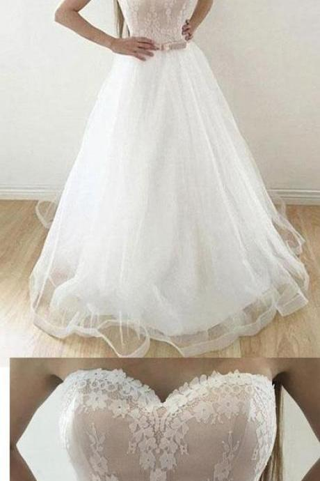 Strapless White Tulle Appliques Lace Wedding Dress, Elegant Wedding Gowns