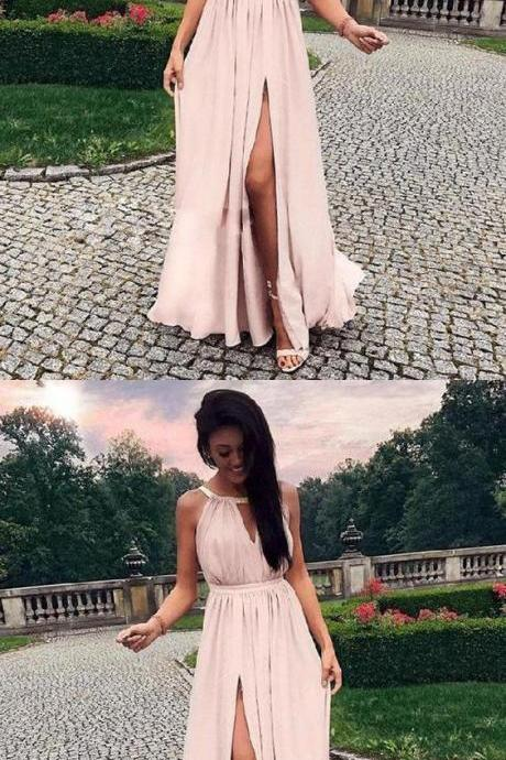 Charming Prom Dress, Cheap Chiffon Split Slit Prom Dresses, Long Evening Party Dress