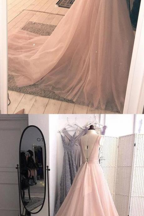 Charming Pink Deep V neckline Prom Dress with Open Back Long Evening Dress