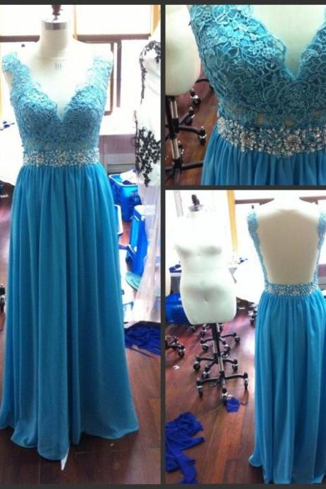 Bg2 Hot Sale Long Evening Dresses,Sheer Neck Back Prom Dress,See Through Blue Lace Prom Dress,Chiffon Prom Dress