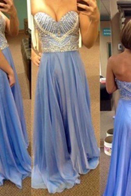 Bg28 Charming Prom Dress,S\weetheart Prom Dress,Chiffon Prom Dress,Beading Prom Dress,Backless Evening Dress,Floor Length Prom Gown