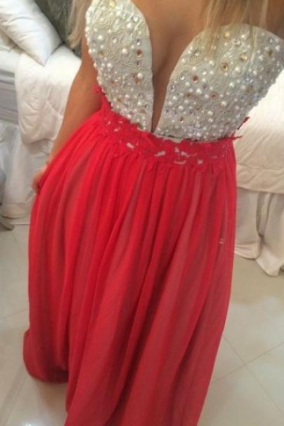 Bg29 Charming Prom Dress,Deep V Prom Dresses,Chiffon Prom Gown,Beading Prom Dress,Beading Prom Dress,Red Evening Dress
