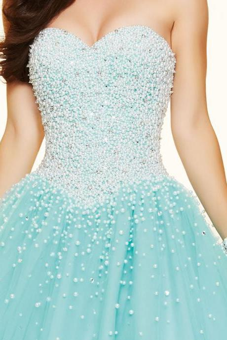Bg40 Sparkly Luxury Ball Gown,Sweetheart Fully Pearls Corset Bodice Prom Dress,Tulle Party Dress Puffy Sexy Long Prom Dresses 2016