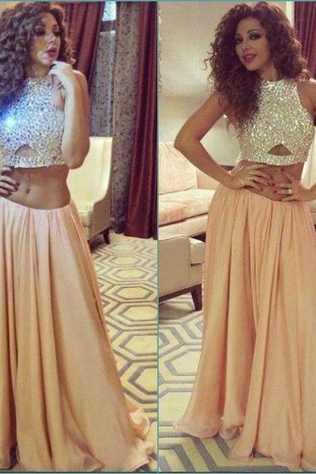 Bg46 Long Prom Dresses 2016,O-neck Sleeveless Prom Dress,Floor Length Beading Chiffon Two-Pieces Party Dresses,Evening Dress