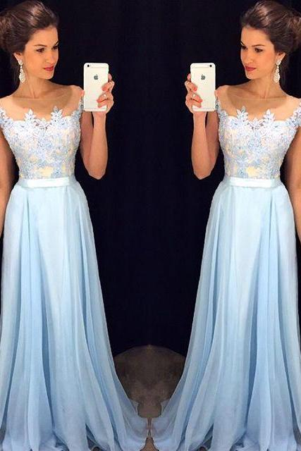Bg47 Long Prom Dresses 2016,Appliques Prom Dress,Floor Length Chiffon Party Dresses,Evening Dress,A Line Prom Dresses
