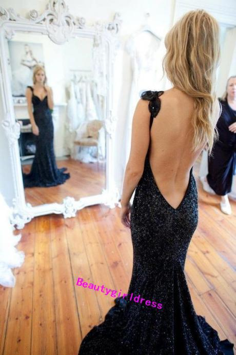 Bg76 Open Back Prom Dress,Sexy Prom Dress,Long Evening Dress,Sequins Prom Dress,Prom Dress 2016
