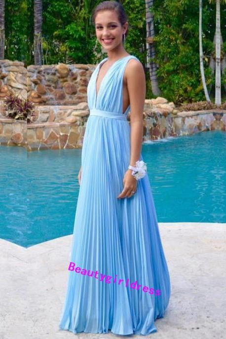 Bg78 Deep V Neck Prom Dres,Chiffon Prom Dress,Light Blue Pleat Prom Dress,Long Floor Length Bridesmaid Dress