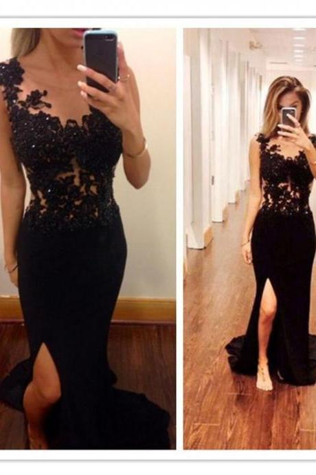 Bg97 Prom Dress,Black Chiffon Prom Dress,Appliques Prom Dress,Evening Dress,Prom Dress 2016