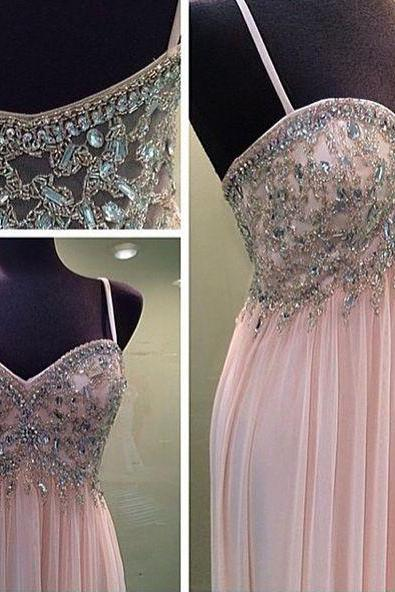 Bg138 Spaghetti Straps Prom Dress,Charming Prom Dress,Chiffon Prom Dress,Pink Prom Dresses,Backless Prom Dresses,Sexy Prom Dress,V Neck Prom Gown,Prom Dress 2016