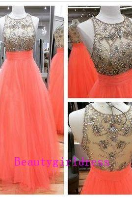 Bg165 Charming Prom Dress,Tulle Prom Dress,Beading Crystal Prom Dresses,Floor Length Homecoming Dress,Formal Evening Dress,Pretty Girl Dress