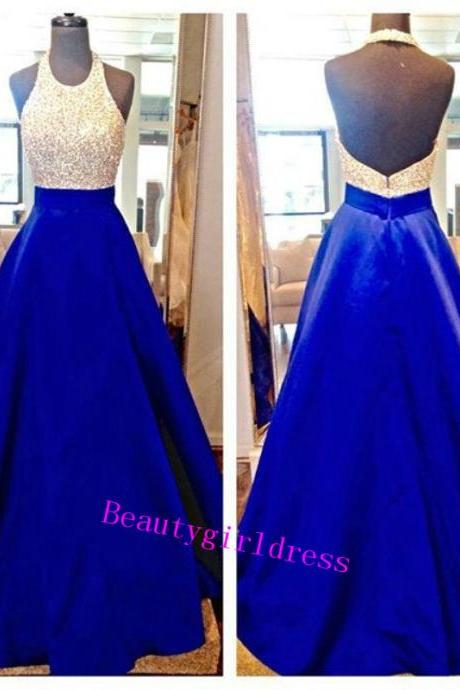 Bg197 Charming Prom Dress,Royal Blue Prom Dress,Beading Prom Dress,Halter Prom Dress,A Line Prom Dress,Prom Dress for Teens
