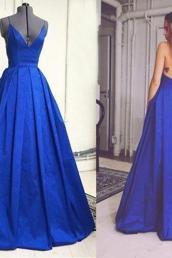 Bg220 Royal Blue Prom Dress,Sexy Prom Dress,Deep V Neck Prom Dress,Backless Prom Dress,Satin Prom Dress,A-Line Evening Dress,Prom Dress 2016