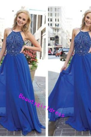 Bg264 Charming Prom Dress,Royal Blue Prom Dresses,Chiffon Prom Dresses,Long Evening Dresses,Backless Prom Dress,Women Formal Dress,Beading Prom Dress