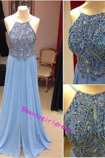 Bg276 Charming Prom Dress,Blue Prom Dresses,Chiffon Prom Dresses,Beading Prom Dress,Backless Prom Dress,Women Formal Dress,Long Evening Dress