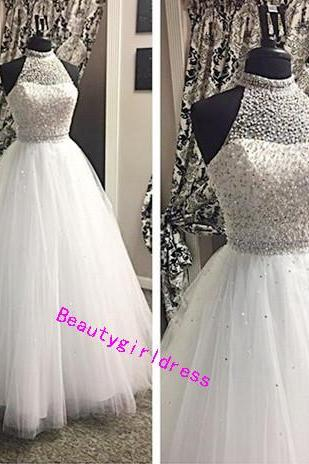 Bg286 New Arrival White Prom Dress,Tulle Prom Dress,Long Prom Dresses,Halter Prom Dresses,Pearls Prom Dress,Women Formal Dress