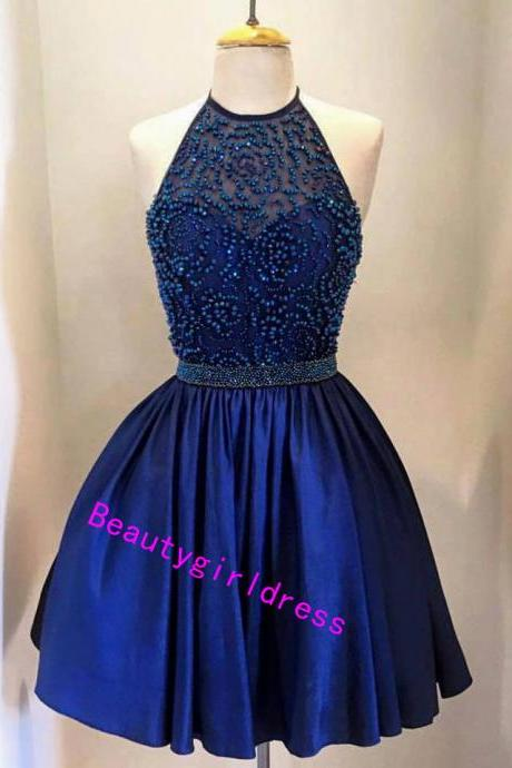 Bg292 New Arrival Dark Blue Prom Dress, Short Prom Dress,Tulle Prom Dress,Pretty Homecoming Dress,Beading Homecoming Dress,Graduation Dress