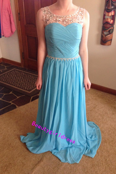 Bg273 New Arrival Light Blue Prom Dress,Prom Dresses,Chiffon Prom Dress,Beading Prom Dress,Evening Formal Dress,Women Dress