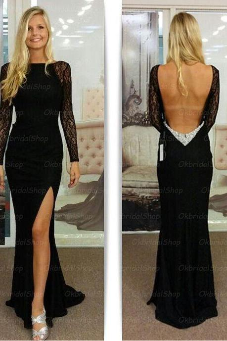 Bg410 Charming Prom Dress,Black Prom Dress,Side Slit Prom Dress,Long Sleeve Prom Dress
