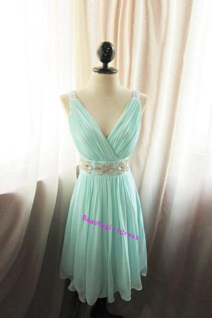 Bg457 Charming Prom Dress,Chiffon Prom Dress,Mint Green Prom Dress,Short Prom Dress