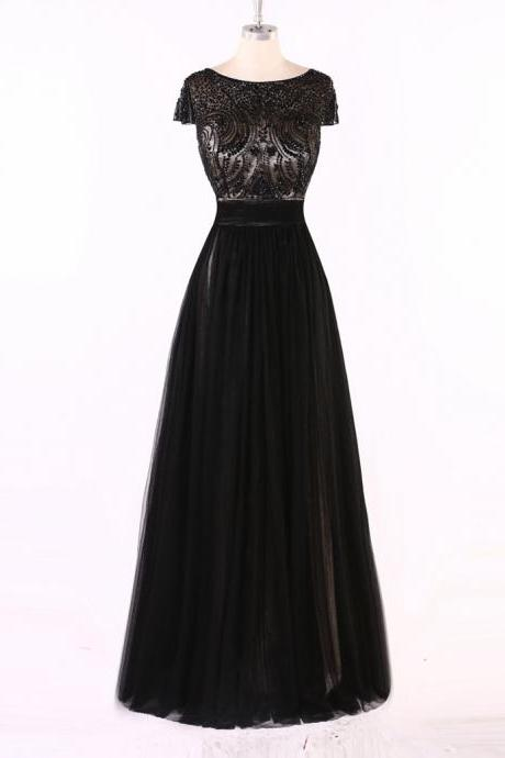 Black Short-Sleeved Beaded A-line Floor-Length Prom Dress, Evening Dress, Formal Dress