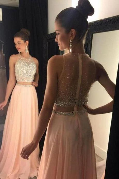 Bg567 Charming Prom Dress,Two Piece Prom Dress,Pink Prom Dress,Beading Prom Dress