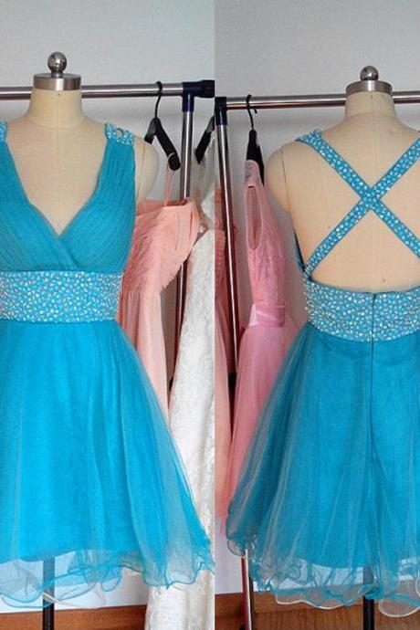 Bg699 Short Homecoming Dress,Tulle Homecoming Dress,Backless Prom Dress,Blue Prom Dress