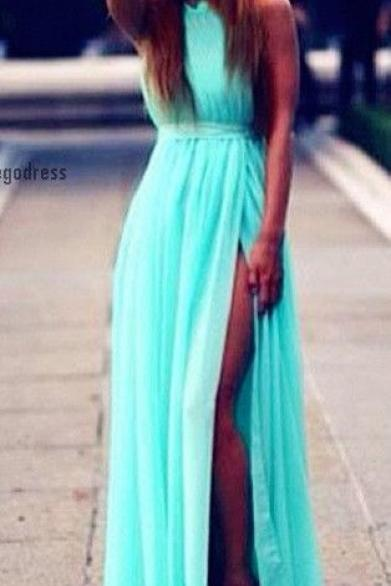Bg718 Charming Prom Dress,Chiffon Prom Dress,Blue Prom Dress,Side Slit Prom Dress