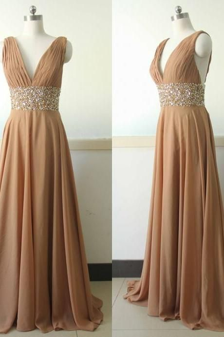 Brown V-Neckline Beaded Chiffon Floor Length Bridesmaid Dress, Prom Dress