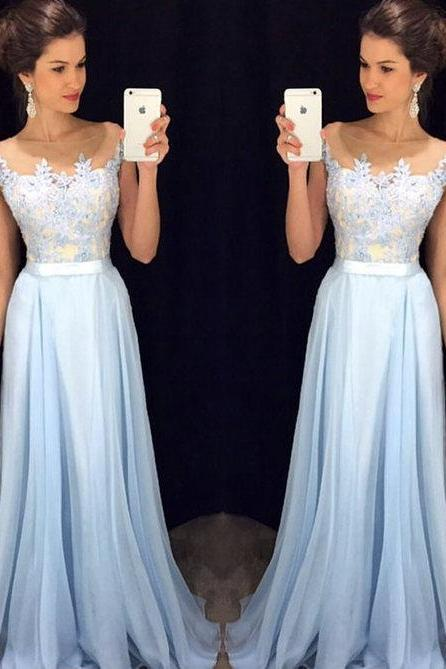 Bg816 Charming Prom Dress,Blue Prom Dress,Chiffon Prom Dress,Long Prom Dress