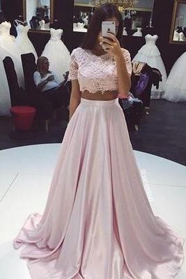 Bg921 Light Pink Prom dress,Two Pieces Prom Dress,Lace Long Prom Dresses,Formal Dress,Evening Dress