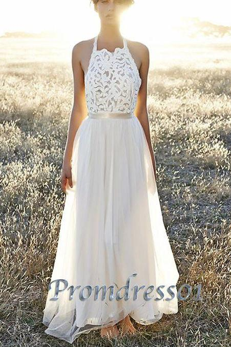 Bg978 New Arrival Halter Prom Dress,White Chiffon Prom Dress,Long Evening Dress,Evening Gown,Prom Dresses 2016