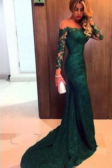 Bg1022 Dark Green Evening Dress Long Sleeves Off the Shoulder Lace Elegant Mermaid Prom Dresses