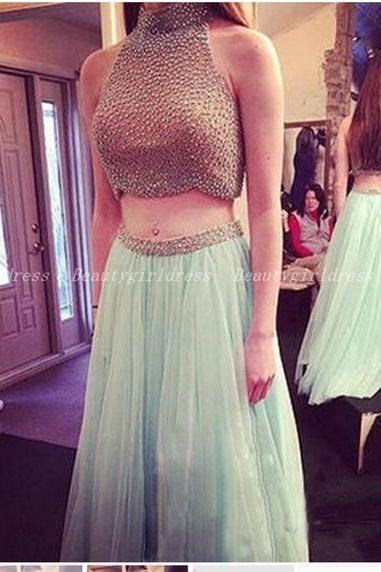 Bg1059 Charming Prom Dress,Two Piece Prom Dress,Halter Prom Dress,Beaded Prom Dresses