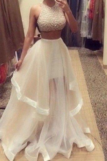 Bg1065 Charming Prom Dress,Two Piece Prom Dress,Tulle Prom Dresses,Long Evening Dress,Formal Dress