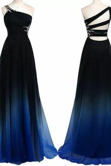 Bg1121 One Shoulder Prom Dress,Gradient Color Prom Dress,Long Prom Dresses,Evening Formal Dress