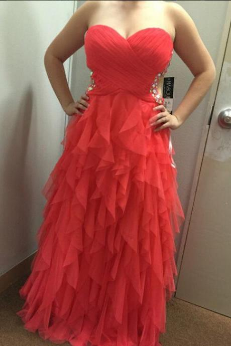 Bg1150 Long Prom Dress,Chiffon Prom Dresses,Red Prom Gown,Ruffle Evening Dress,Formal Dress