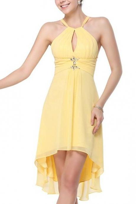 Bg1317 Charming Prom Dress,Yellow Prom Dress,Chiffon Short Prom Dress,Sexy Prom Dress