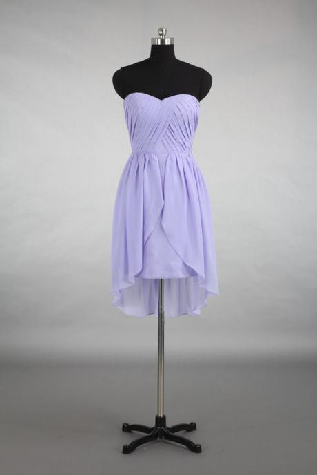 Purple Chiffon Ruched Sweetheart A-Line Homecoming Dress Featuring Irregular Hem