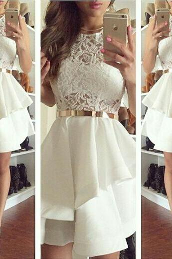 Charming Prom Dress,Short Prom Dress,Lace Graduation Dress Homecoming Dress