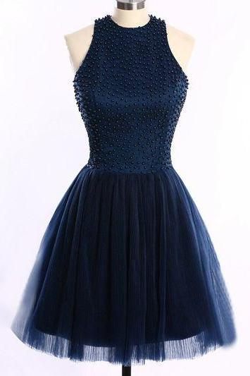 Charming Prom Dress,Tulle Homecoming Dresses,Halter Homecoming Dress,Beaded Graduation Dress,Short Prom Dress
