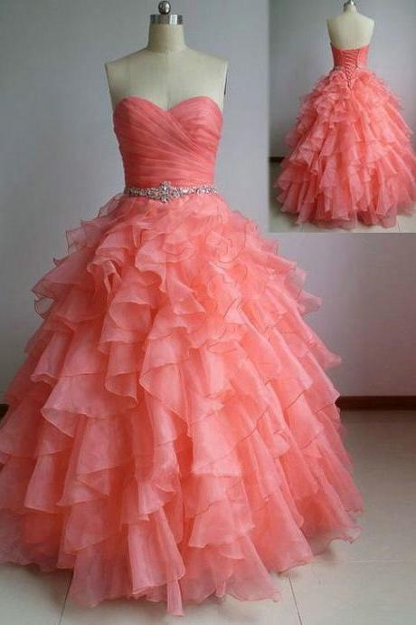 Charming Prom Dress,Ruffles Prom Dress,Long Prom Dress,Backless Prom Dress,Evening Formal Dress