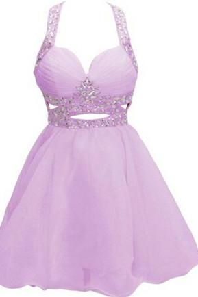 Charming Homecoming Dress,Tulle Homecoming Dresses,Beading Crystal Homecoming Dress,Short Prom Dress